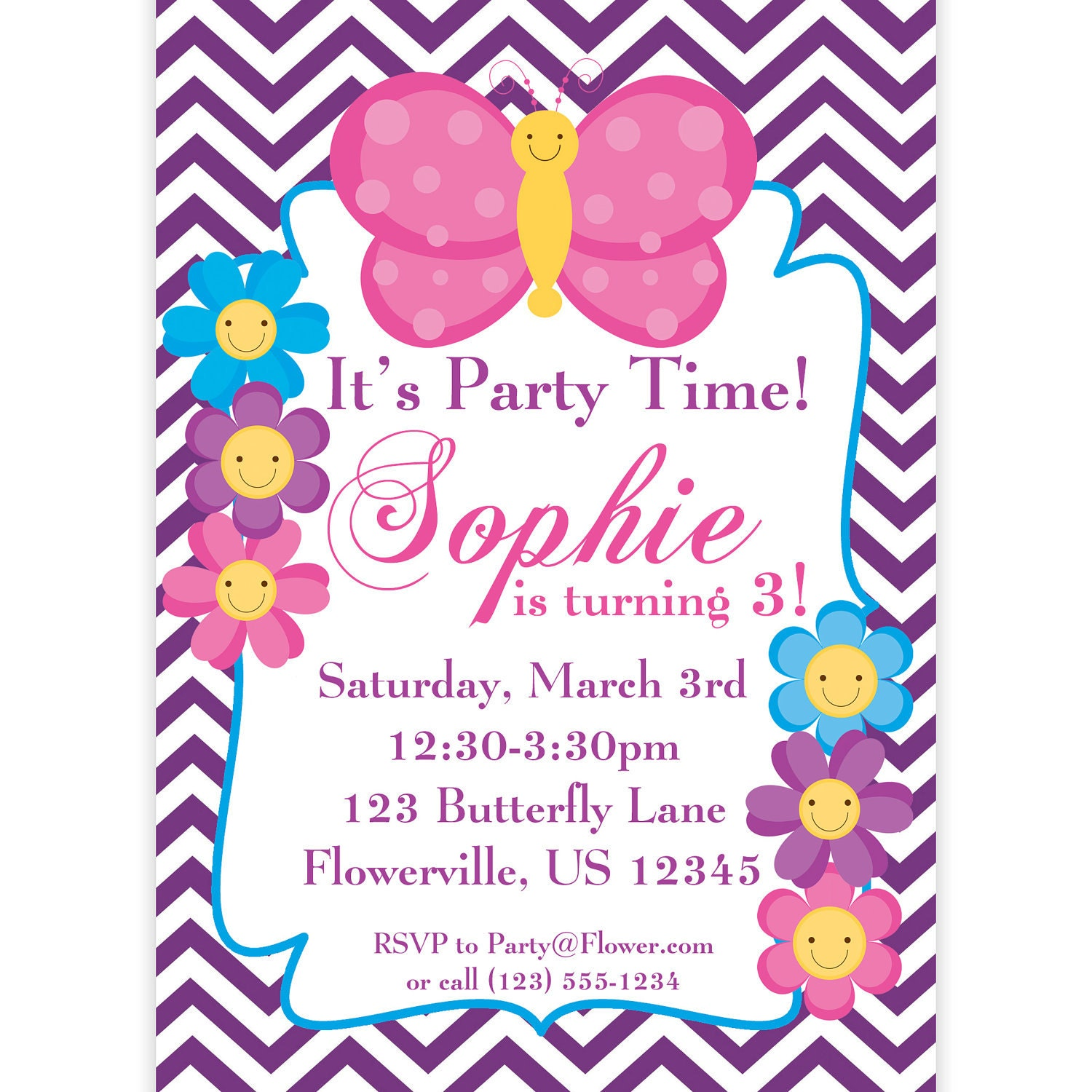 Butterfly Invitation Purple Chevron Butterflies and Flowers