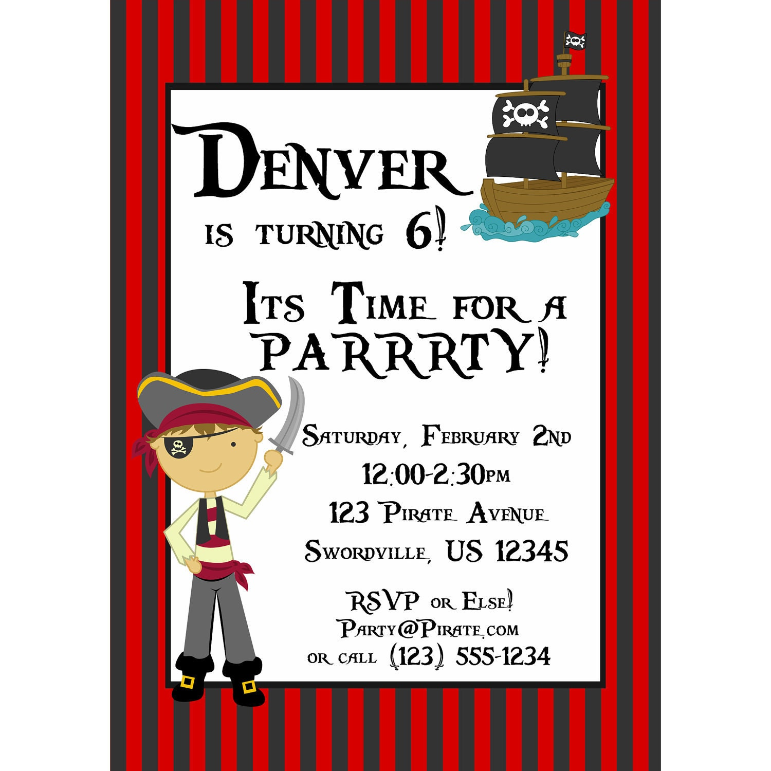 Pirate Invitation Red and Black Striped Pirate Boy and – Free Printable Pirate Birthday Party Invitations