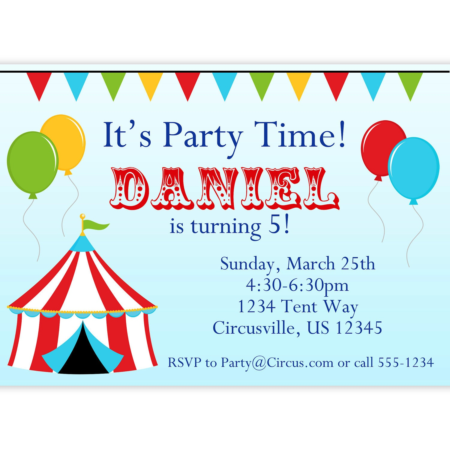 Balloon themed birthday party invitations