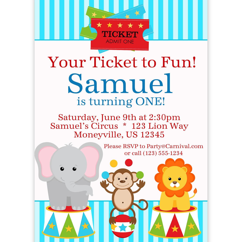 Circus Carnival Invitation Ticket Blue Circus Animals