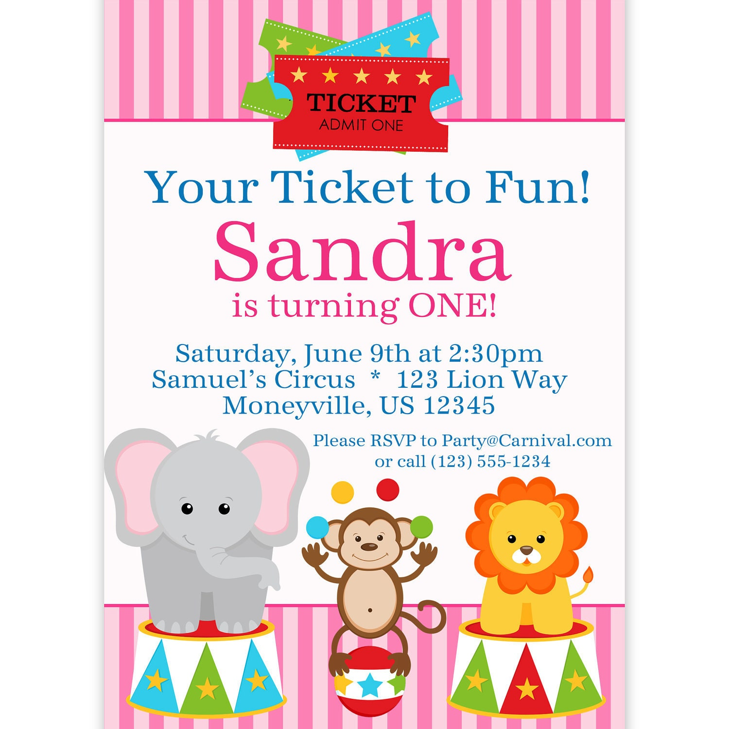 circus carnival invitation ticket  pink circus animals elephant, Party invitations