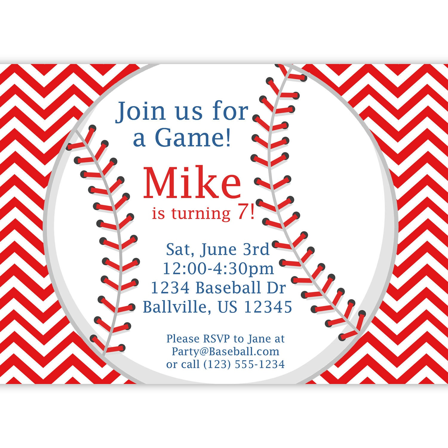 baseball invitation red stripe chevron baseball ball