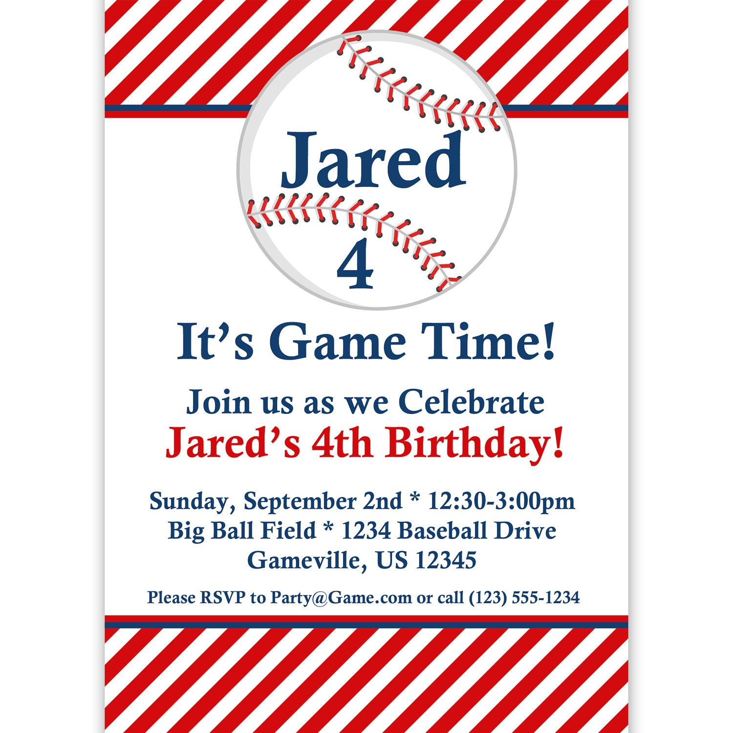 Baseball Invitation Red Striped Baseball Ball Personalized