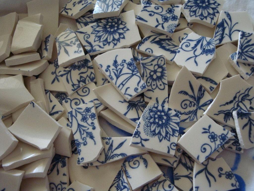 Broken China Mosaic Tiles Vintage Blue White Willow Style