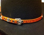 Mens or Womens Cowboy Hatband with Silver tip, buckle and star conchos.