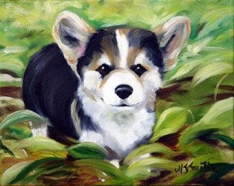 PRINT Pembroke Welsh Corgi Tri-Color Dog Art Painting / Mary Sparrow