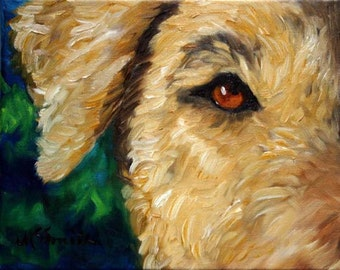 PRINT Airedale Terrier Dog Puppy Art Oil Painting Home Decor / Mary Sparrow