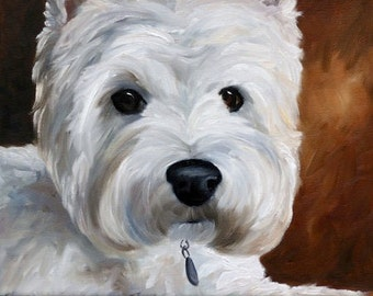 PRINT Westie West Highland Terrier Dog Art Oil Painting / Mary Sparrow of Hanging the Moon