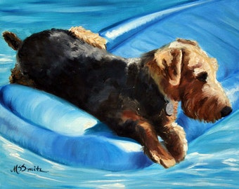 PRINT Airedale Terrier Dog Puppy Art Oil Painting / Mary Sparrow