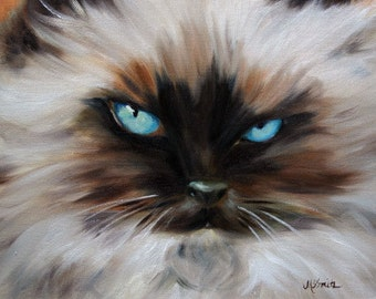 PRINT Himalayan Cat Eyes Kitten Art Oil Painting Home Decor / Mary Sparrow