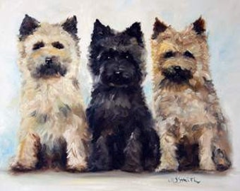 PRINT Cairn Terrier Dog Puppy Art Oil Painting Home Decor Gift / Mary Sparrow Smith