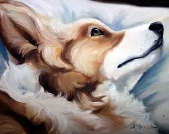 PRINT Pembroke Welsh Corgi Dog Puppy Art Oil Painting Gift / Mary Sparrow