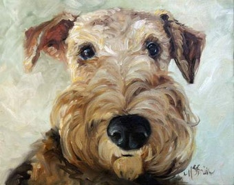 PRINT Airedale Terrier Dog Puppy Art Oil Painting / Mary Sparrow welsh