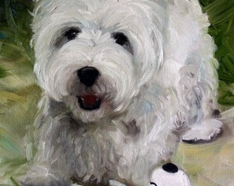 PRINT White Westie West Highland Terrier Dog Puppy Art Oil Painting Snoopy / Mary Sparrow