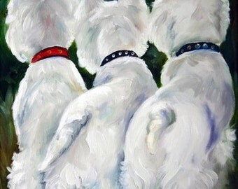 PRINT White Westie West Highland Terrier Dog Puppy Art Oil Painting / Mary Sparrow
