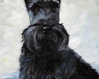 PRINT Black Scottish Terrier Scottie Dog Art Print Oil Painting / Mary Sparrow