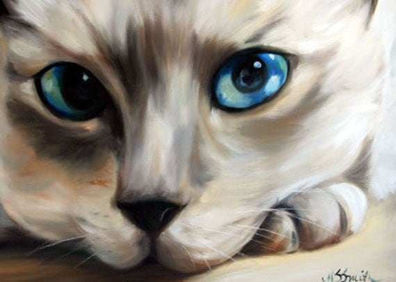 PRINT Siamese Cat Eyes Art Print Oil Painting Gift / Mary Sparrow Feline