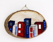 Wooden picture, The Town, Hand Painted Wooden Wall Hanging, Red White Bue