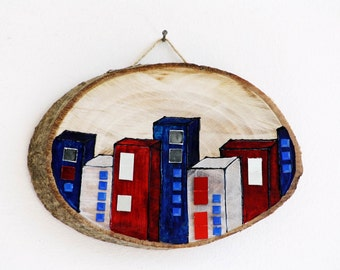 The Town Hand Painted Wooden Wall Hanging Red White Bue