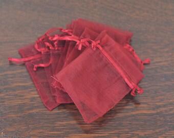 25 Burgundy Organza Drawstring Bags - 3.4 x 2.75 -  favor, sachet bags