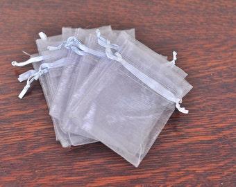 38 Silver / Gray Organza Drawstring Bags - 3.5 x 2.75 - wedding favor, sachet bags