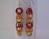 """Chainmaille Earrings """"Autumn Leaves"""" in Shaggy Loops"""