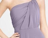 Custom Romantic One shoulder  White Cream Bride Bridesmaids Wedding Dress Gown S06