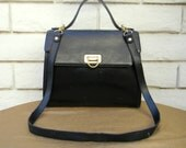 Authentic LEATHER GUILD Florence Made In Italy Black Leather Satchel Bag Kelly Bag