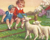 Children playing with lambs / Early 20th century postcard / Vintage postcard