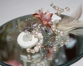 Nude/Peach beaded button feather hair comb matches bouquets