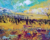 Original Abstract Landscape Acylic Palette Knife Painting On Deep Edge Canvas.