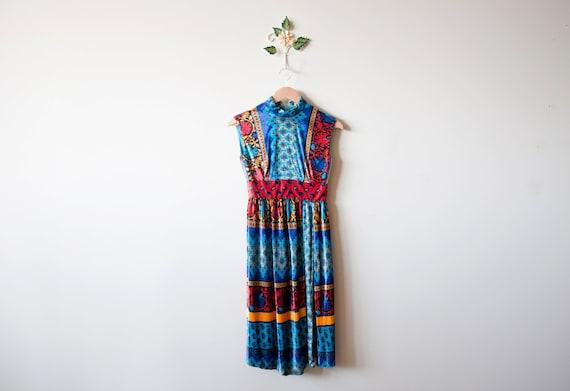 Vintage Bright Velvet Mini Dress - S/XS