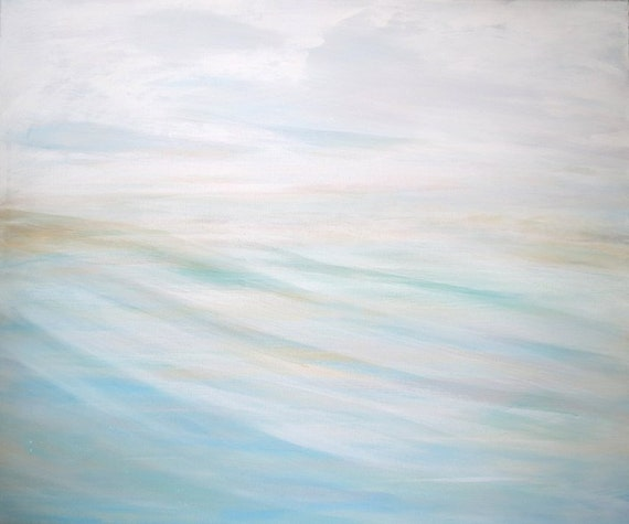 "Original Acrylic Beach Painting ""Winds over Kiawah"" 24x20 on Canvas with Blues, White, Light Beige ART"