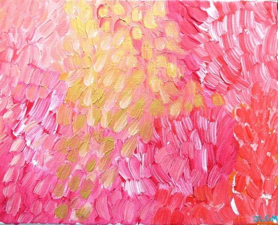 Banff Garden Poppies and Roses Painting - Pinks, Gold and Coral Abstract on Canvas