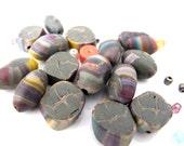 Polymer clay olive green destash bead mix lot