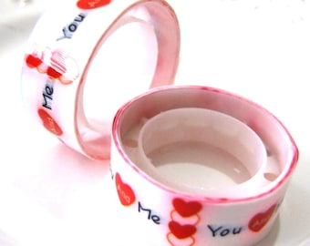 Deco tape kawaii  me and you red hearts
