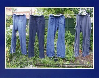 Jeans on the line - photo card