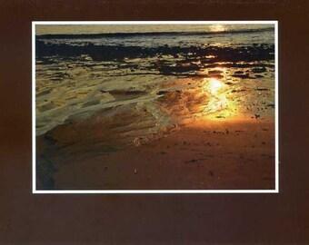 Sunset beach reflection - photo card