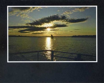 Sunset from the ferry- photo card