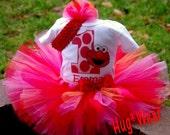 Custom Boutique Birthday Elmo Face Birthday tutu