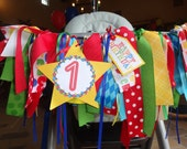Primary Color ribbon high chair banner/ photo prop/ party decor