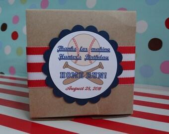 6 Vintage Baseball theme gift box with tag