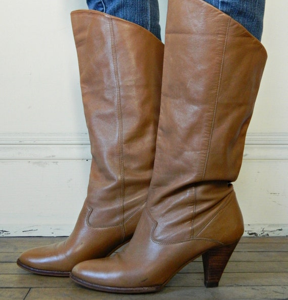 9 West Knee High Boots // Tan Leather Wooden Heels Size 7 // Vintage Nine West Boots // Boho Boots