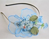 Tea party blue garden flower headband