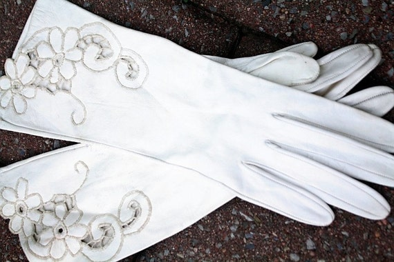vintage white leather gloves with lace cut outs