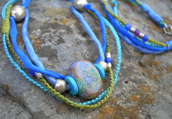 Organic Lampwork Macrame Multi Strand Necklace or Wrapped Bracelet Glass Bead Blue Silks and Hand-Knotted