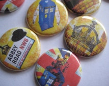 "London Party England British Party Union Jack Party Favors Images 1"" Pinback buttons pins badges flatback"