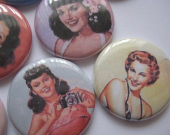 "15 Pin Up Girls Images 1"" flat back buttons"