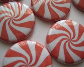 "15 Candy Peppermint Pepomint Candy Images 1"" flat back buttons"