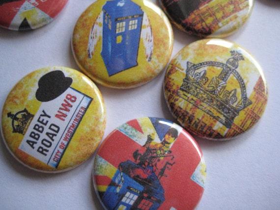"London Party England British Party Union Jack Party Favors Images 1"" Pinback buttons pins badges flatback buttons - London Magnets"